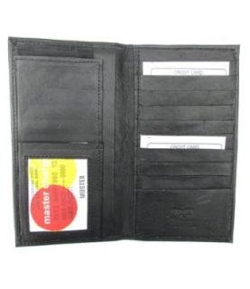 Black Lambskin Leather All in One Checkbook Wallet #175 Clothing