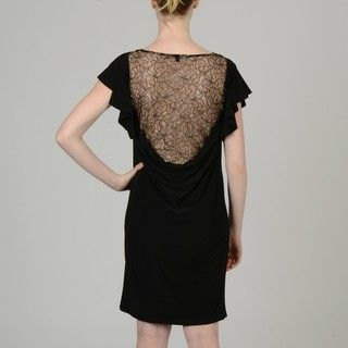 Tiana B Womens Black Lace back Jersey Dress