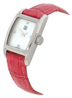 ESQ Womens Quest Three Leather Strap Watch