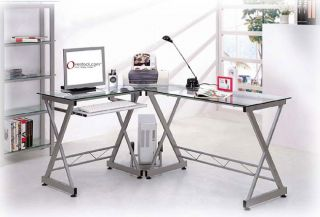 Deluxe Tempered Glass L shaped Computer Desk