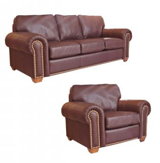 Top Grain Burgundy/Bown Leather Sofa and Chair