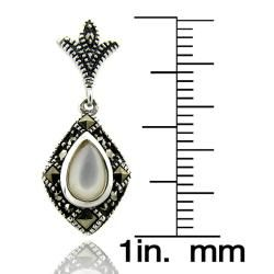 Sterling Silver Marcasite and Mother of Pearl Drop Earrings