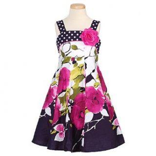 Bonnie Jean Little Girl Navy Pink Floral Spring Dress 4