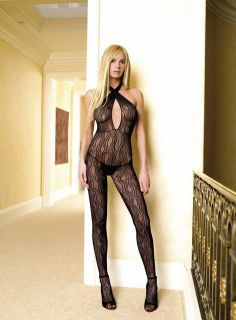 Leg Avenue Crotchless Bodystocking Halter Lingerie