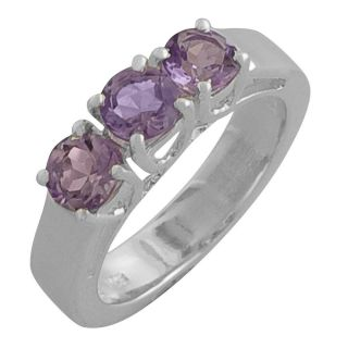 Sterling Silver Round cut Amethyst Ring