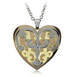 Womens Tri color Heart Necklace in Stainless Steel Jewelry