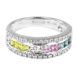 14k Gold Multi colored Sapphire and 1/4ct TDW Diamond Ring (H I, I1 I2
