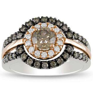 14k Pink and White Gold 1ct TDW Brown Diamond Ring (H I, I1 I2