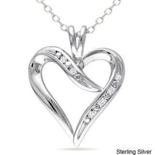 Miadora Sterling Silver White Diamonds Heart Pendant Necklace Today $