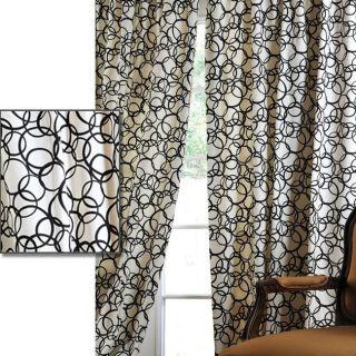 Cirque Black Printed Cotton 120 inch Curtain Panel