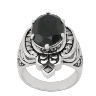 Sterling Silver Marcasite and Oval Onyx Cocktail Ring