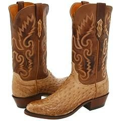 Lucchese N1061 R/4 Tan Burnished Ostrich Boots