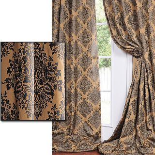 With Soft Black Print Faux Silk Curtain Panel 120 Inch
