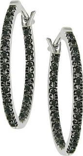 14k White Gold 1/4ct TDW Black Diamond Earrings