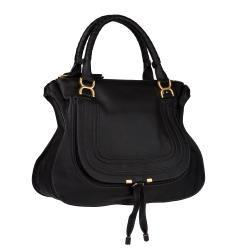 Chloe Marcie Black Leather Shoulder Bag