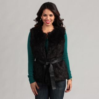 Live A Little Womens Faux Fur Belted Vest