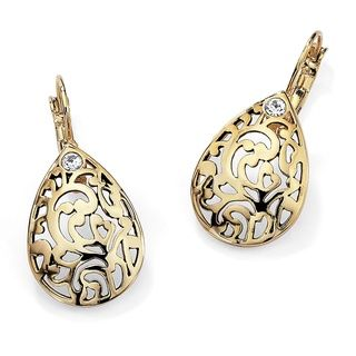 Toscana Collection 14k Gold plated Crystal Filigree Earrings