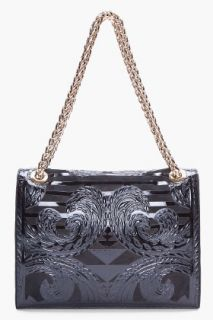 Balmain Black Ultimate Embossed Shoulder Bag for women