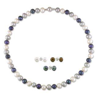 Miadora Sterling Silver Multi colored Pearl Jewelry Set (7.5 10 mm
