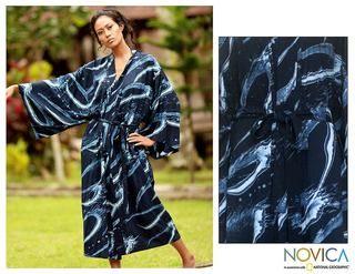 Sea of Shadows Womens Batik Robe (Indonesia)