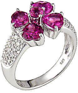 14k Gold 1/5ct Diamond and Heart Petal Pink Tourmaline Ring