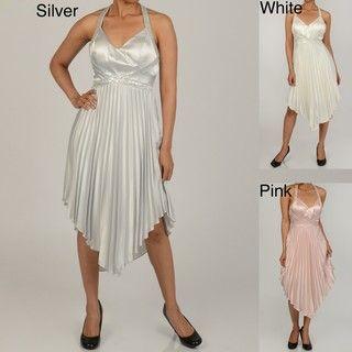 Issue New York Womens Bead/ Sequin Pleated Halter Evening Dress