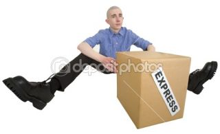 Courier and cardboard box with label  Stock Photo © pz.axe #1020183