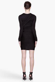T By Alexander Wang Black Glossy Double Drape Jersey Dress for women