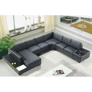 Artistant House 4 piece Black Leather Sectional