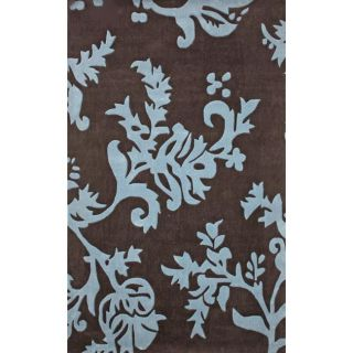 Handmade Alexa Pino Brown/ Teal Floral Vine Rug (86 x 116