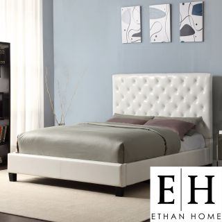 ETHAN HOME Sophie White Vinyl Tufted Full size Platform Bed Today $