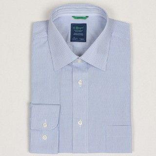 Haspel Mens Blue Check Dress Shirt