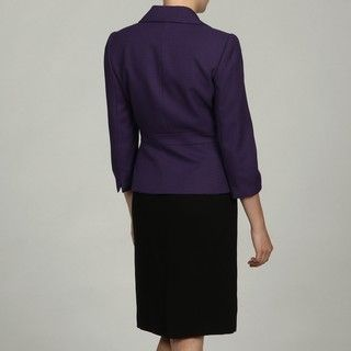 Tahari Womens Purple/ Black Notch Collar Skirt Suit