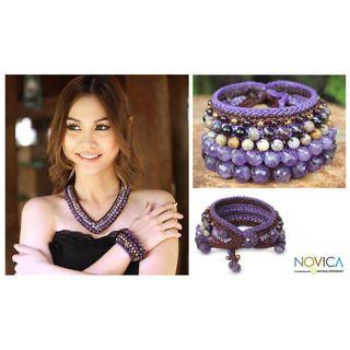 Handcrafted Multi gemstone Bangkok Violet Bracelet (Thailand