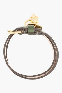 Alexander McQueen Green Antique Gold And Crystal Skull Charm Bracelet for men
