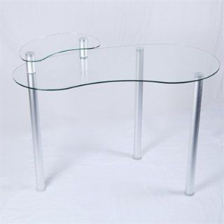 Clear Glass Corner Computer Desk with Monitor Stand Home