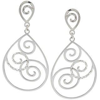 La Preciosa Sterling Silver Swirl Design Open Teardrop Earrings
