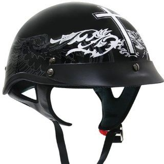 Outlaw Black Glossy Christian Cross Motorcycle Half Helmet