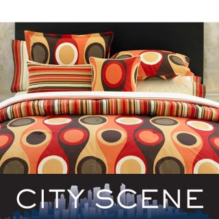 City Scene Retro Radar Camel/ Red Pillow Set