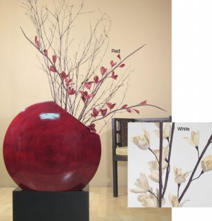 Red Bamboo Circular Vase with Dried Florals (Stand Not Included