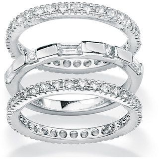 Ultimate CZ Gold over Silver Stackable Cubic Zirconia 3 piece Eternity