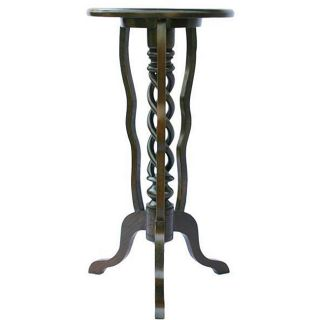 Teak Wood Round top Three leg Spiral Accent Table (Thailand