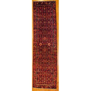 Persian Hand knotted Black/ Red Tribal Hamadan Wool Rug (36 x 127