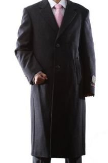 Mens Single Breasted Black Luxury Wool Full Length