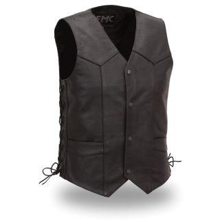 FMC Mens Black Leather Side lace Classic Vest