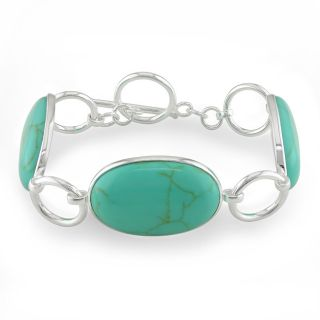 Miadora Sterling Silver Shape Turquoise Gemstone Bracelet