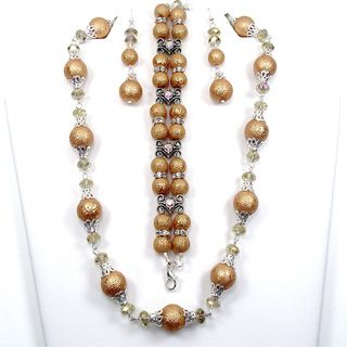 Silverplated Brown Glass Pearl and Clear Crystal Jewelry Set