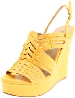 Miss Me Womens Heart 24 Wedge Pump,Yellow,7 M US Shoes