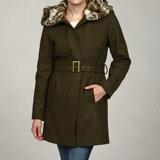 Hilary Radley New York Womens Olive Faux fur Coat FINAL SALE