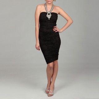 Gossip Girl Womens Black Ruched Rhinestone Halter Dress
